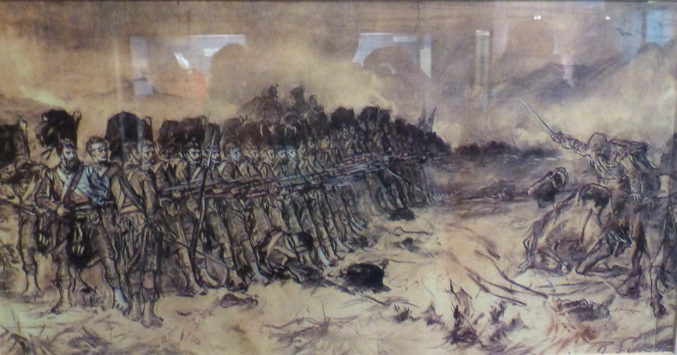 Sketch for Gibb's painting The Thin Red Line